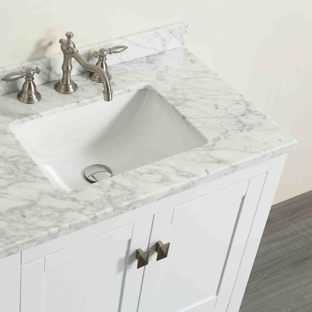 Aberdeen 29.1 in. W x 22 in. D x 35 in. H Vanity in White with Carrara Marble Vanity Top in White with White Basin