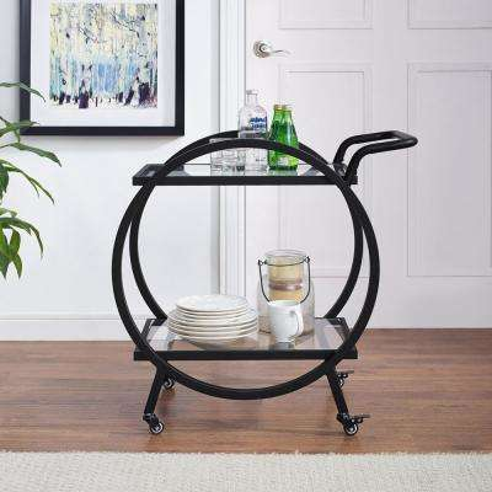 32 in. Round Frame Serving/Bar Cart in Black