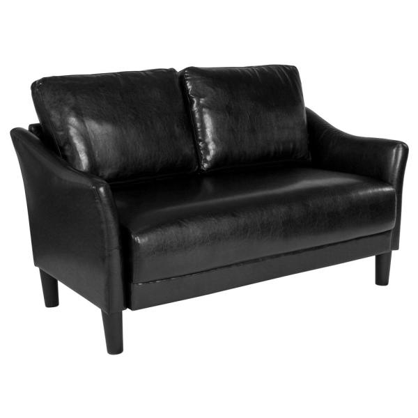 Surprising Flash Furniture Black Leather Barrel Loveseat Gmtry Best Dining Table And Chair Ideas Images Gmtryco