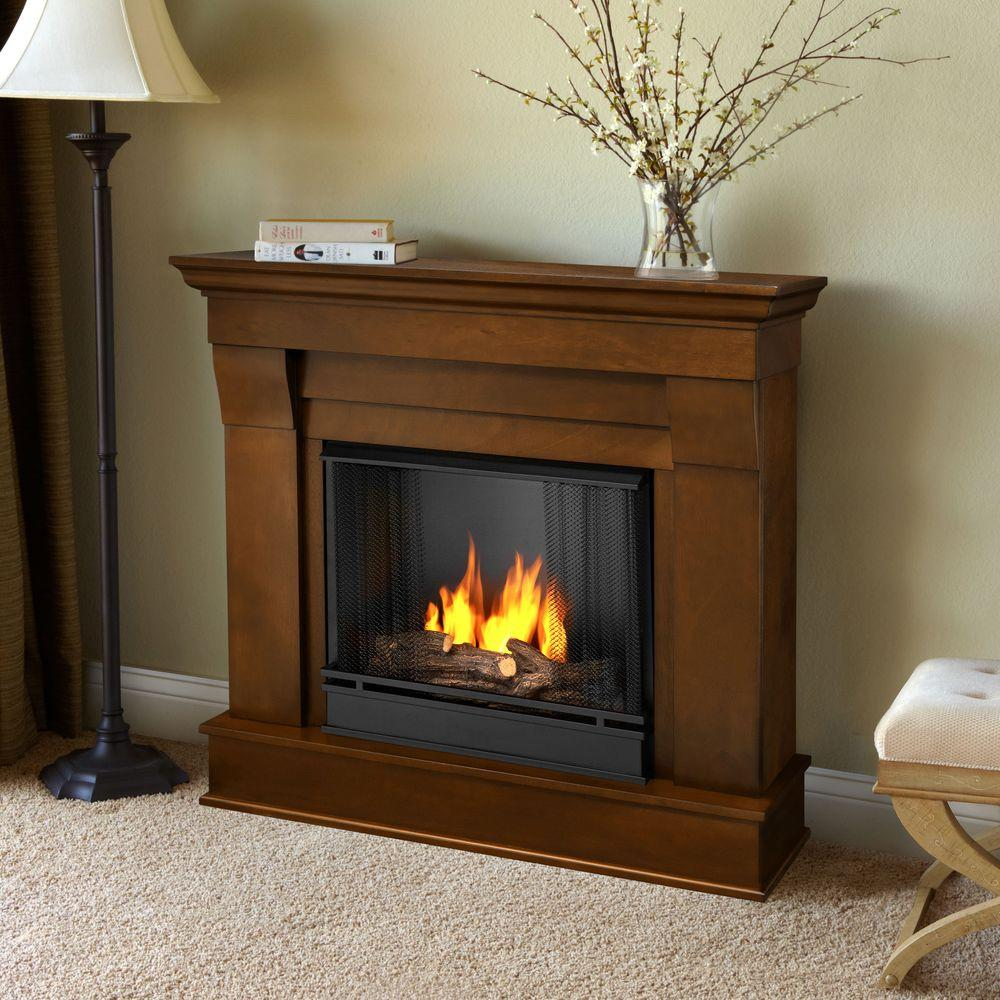 real flame chateau 41 in ventless gel fuel fireplace in espresso 5910 e the home depot. Black Bedroom Furniture Sets. Home Design Ideas