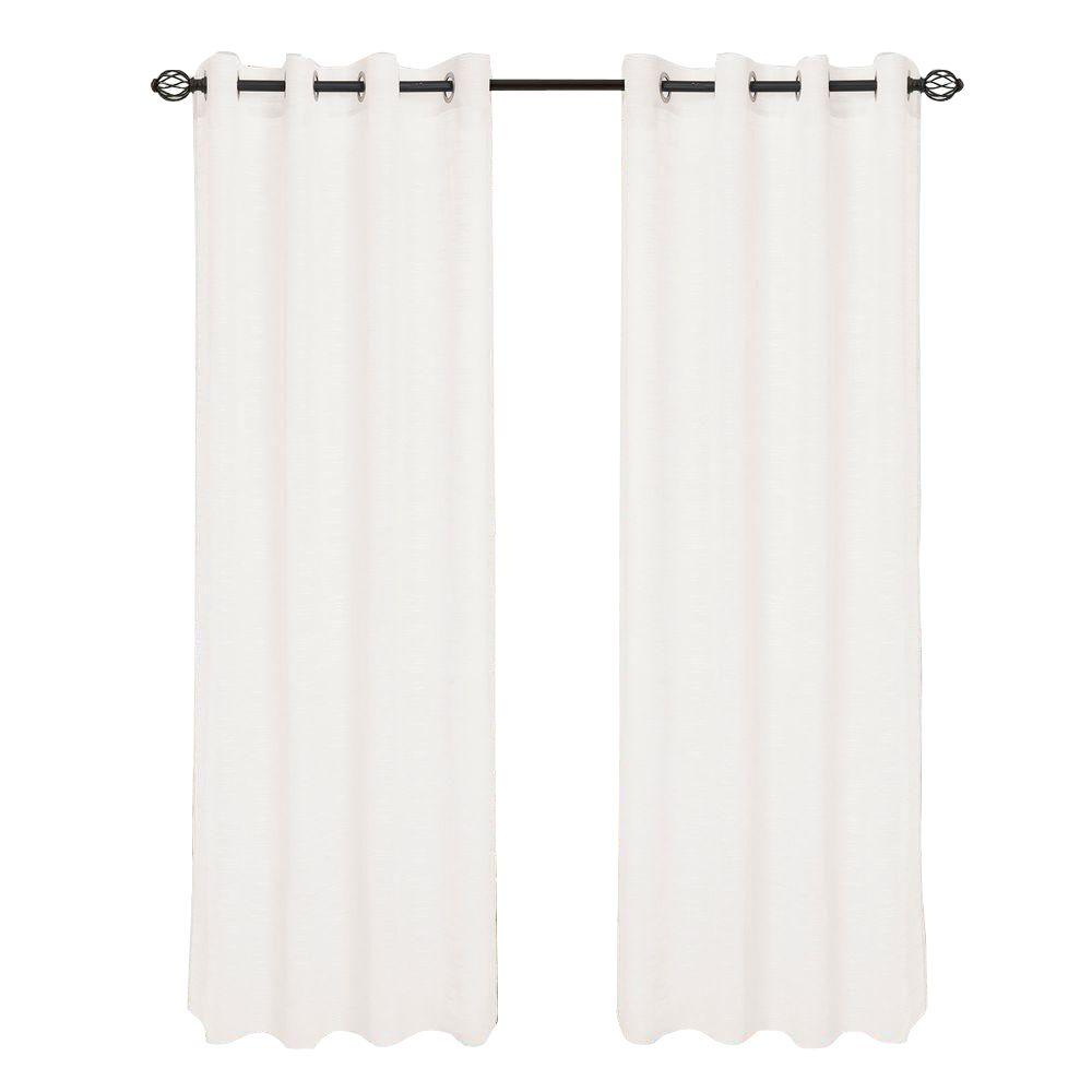 Lavish Home White Mia Jacquard Grommet Curtain Panel 84 In Length