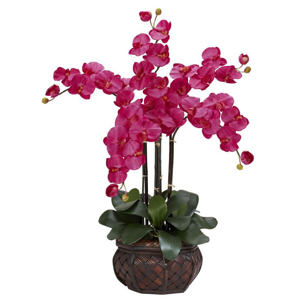 31 in. H Beauty Phalaenopsis with Decorative Vase Silk Flower Arrangement