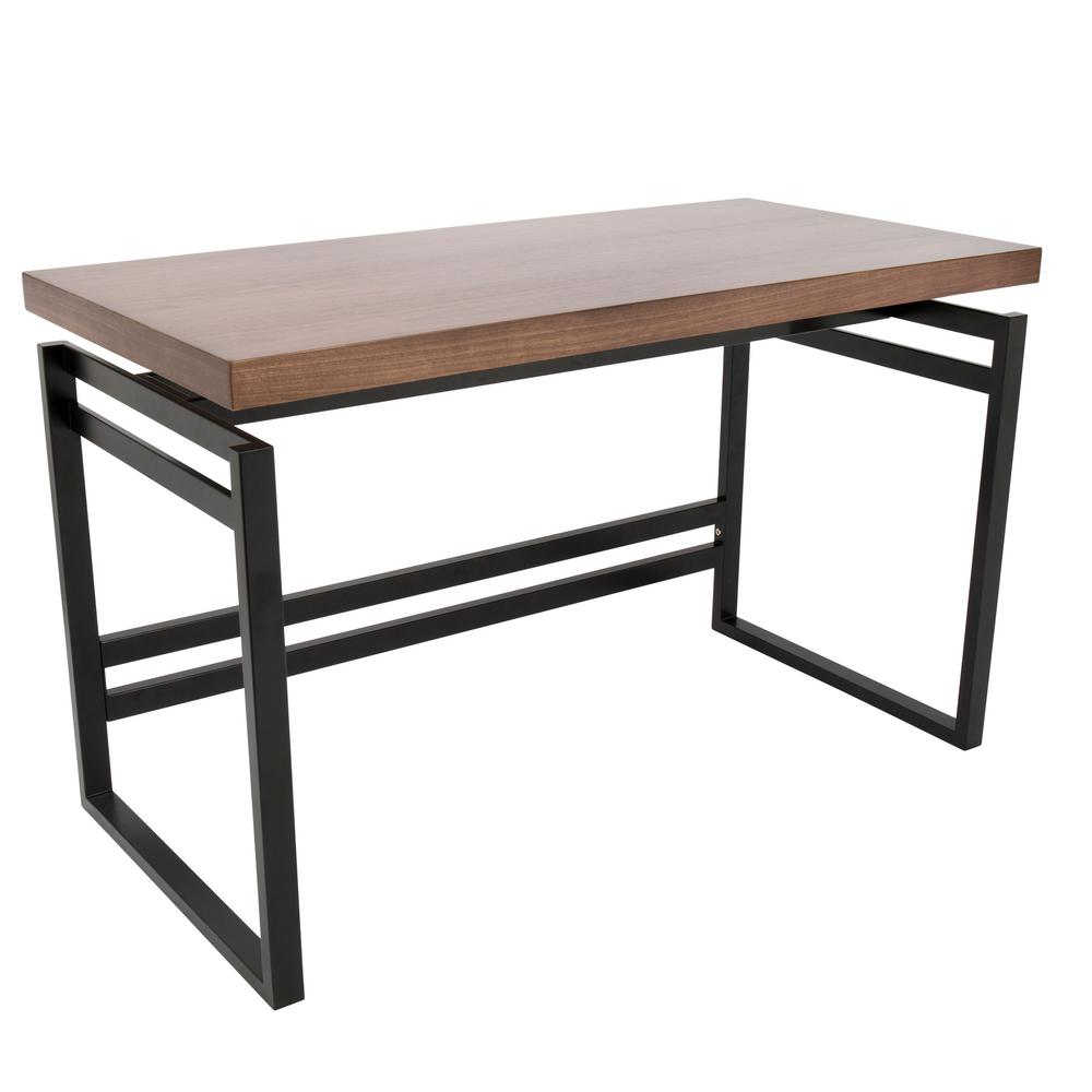 Lumisource drift black metal frame and walnut wood top for Metal desk with wood top