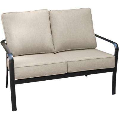 Cortino Commercial-Grade Aluminum Outdoor Loveseat with Plush Sunbrella Tan Cushions