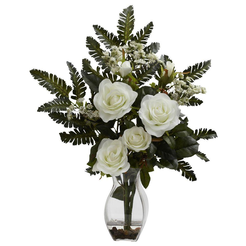 Nearly Natural Rose and Chryistam Arrangement in White