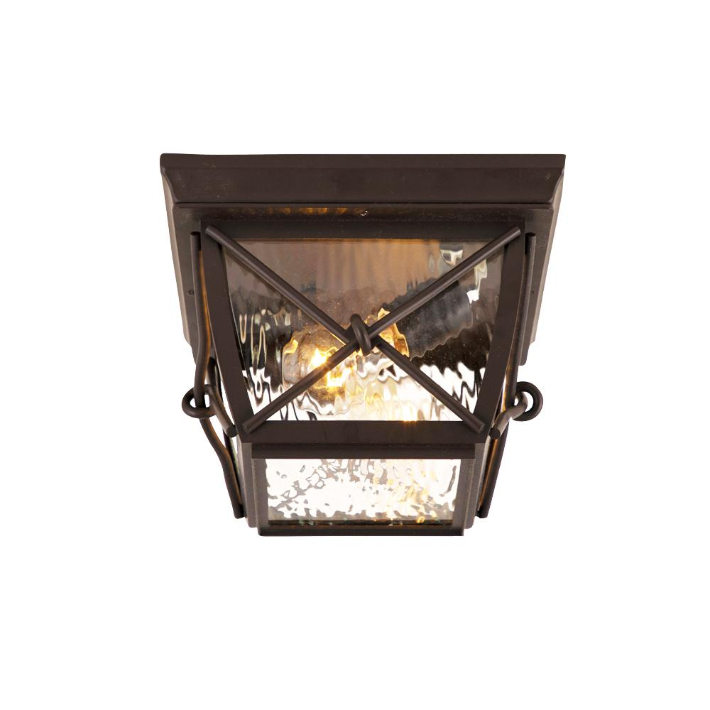 Home Decorators Collection Springbrook Medium 2-Light Rustic Outdoor Flush Mount with Clear Water Glass