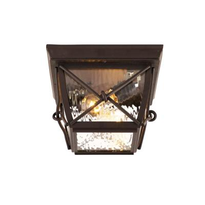Springbrook Medium 2-Light Rustic Outdoor Flush Mount with Clear Water Glass