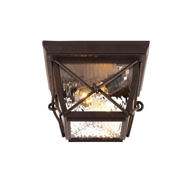 Home Decorators Collection Greer 1 Light Black Outdoor Semi Flush Mount Lantern With Caged Seeded Glass Hdp13671 The Home Depot