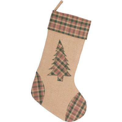 20 in. Clement Deep Red Rustic Christmas Decor Tree Appliqued Stocking