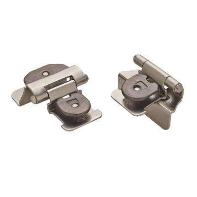 Satin Nickel Double Demountable Partial Overlay Hinge (2-Pack)