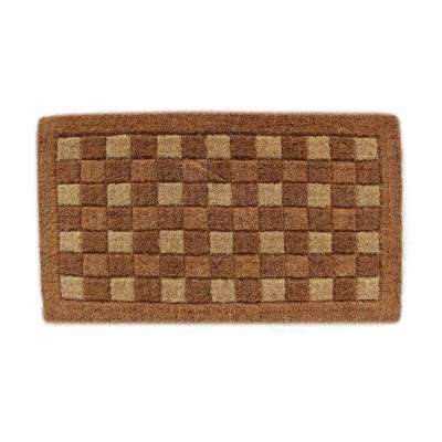 Traditional Coir Mat, Square Pattern, 30 in. x 18 in. Natural Coconut Husk Doormat