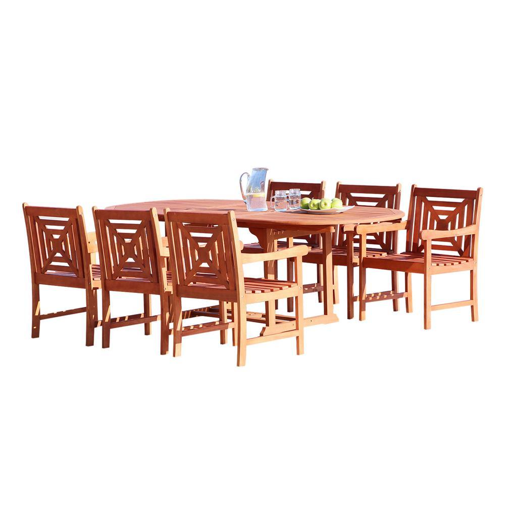 Malibu 7-Piece Wood Oval Outdoor Dining Set