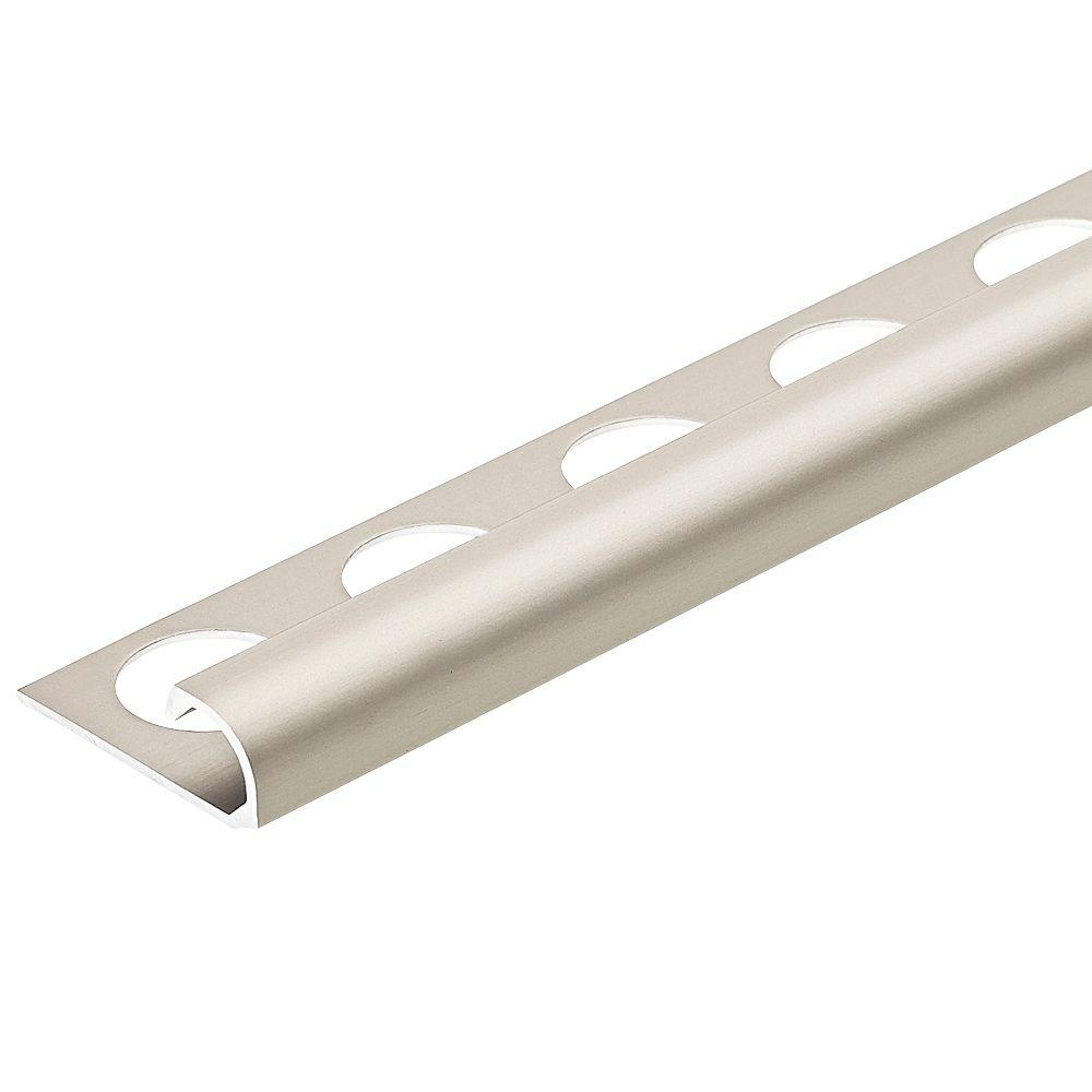 Satin Nickel Anodized 3/8 in. x 98-1/2 in. Aluminum R-Round Bullnose