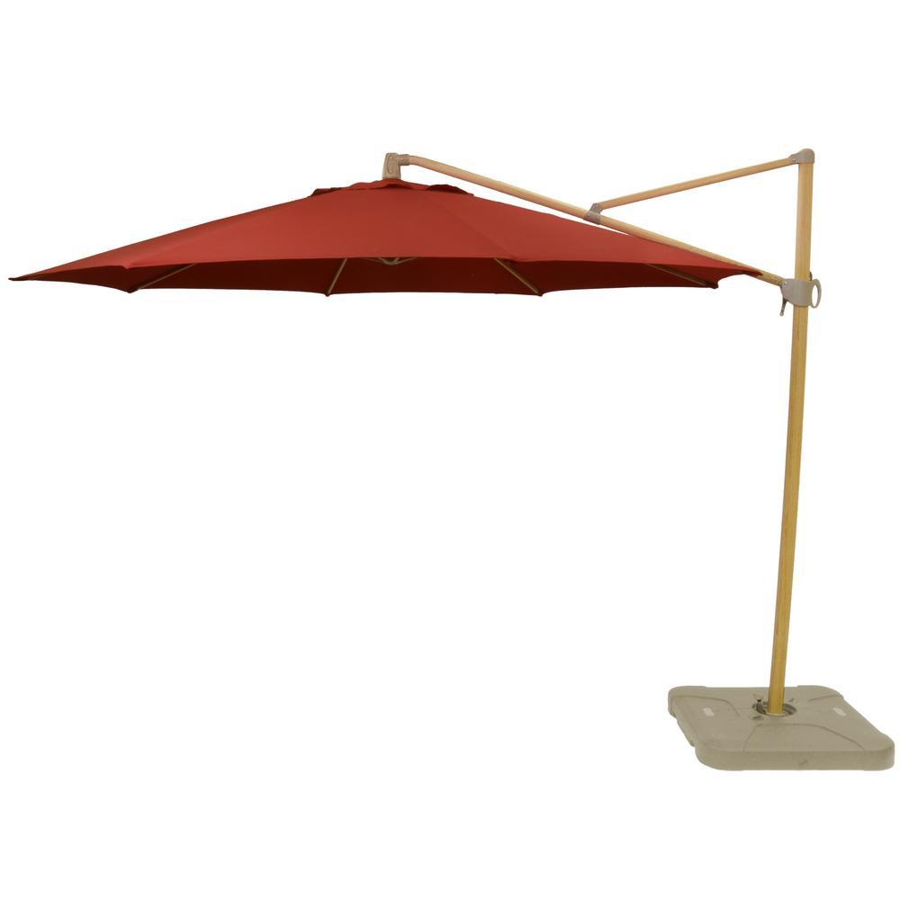 11 ft. Aluminum Cantilever Tilt Patio Umbrella in CushionGuard Chili with Faux Wood Pole
