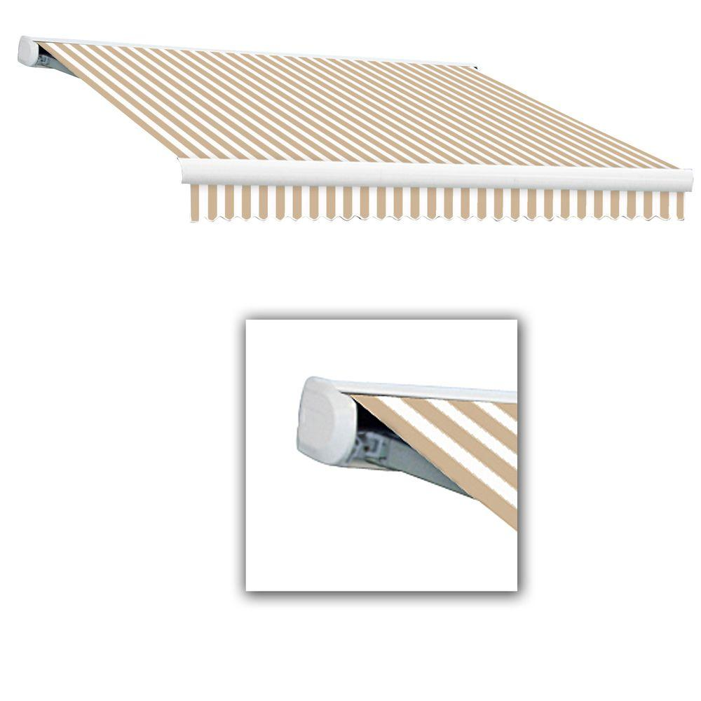 AWNTECH 14 ft. Key West Manual Retractable Awning (120 in. Projection) in Linen/White