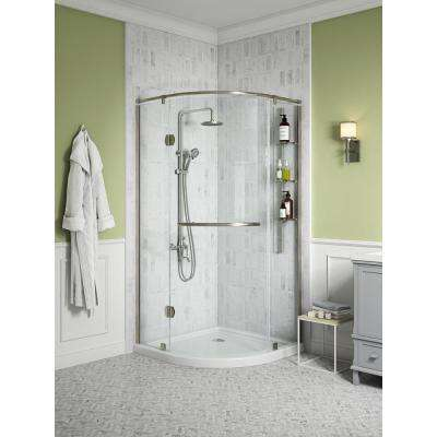 Glamour 36 in. x 73.90 in. Semi-Frameless Pivot Shower Door in Satin Nickel with 36 in. x 36 in. Base in White