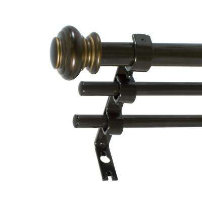 3/4 in. Urn Triple Drapery Rod Set, 42 in. - 120 in. in Oil Rubbed Bronze