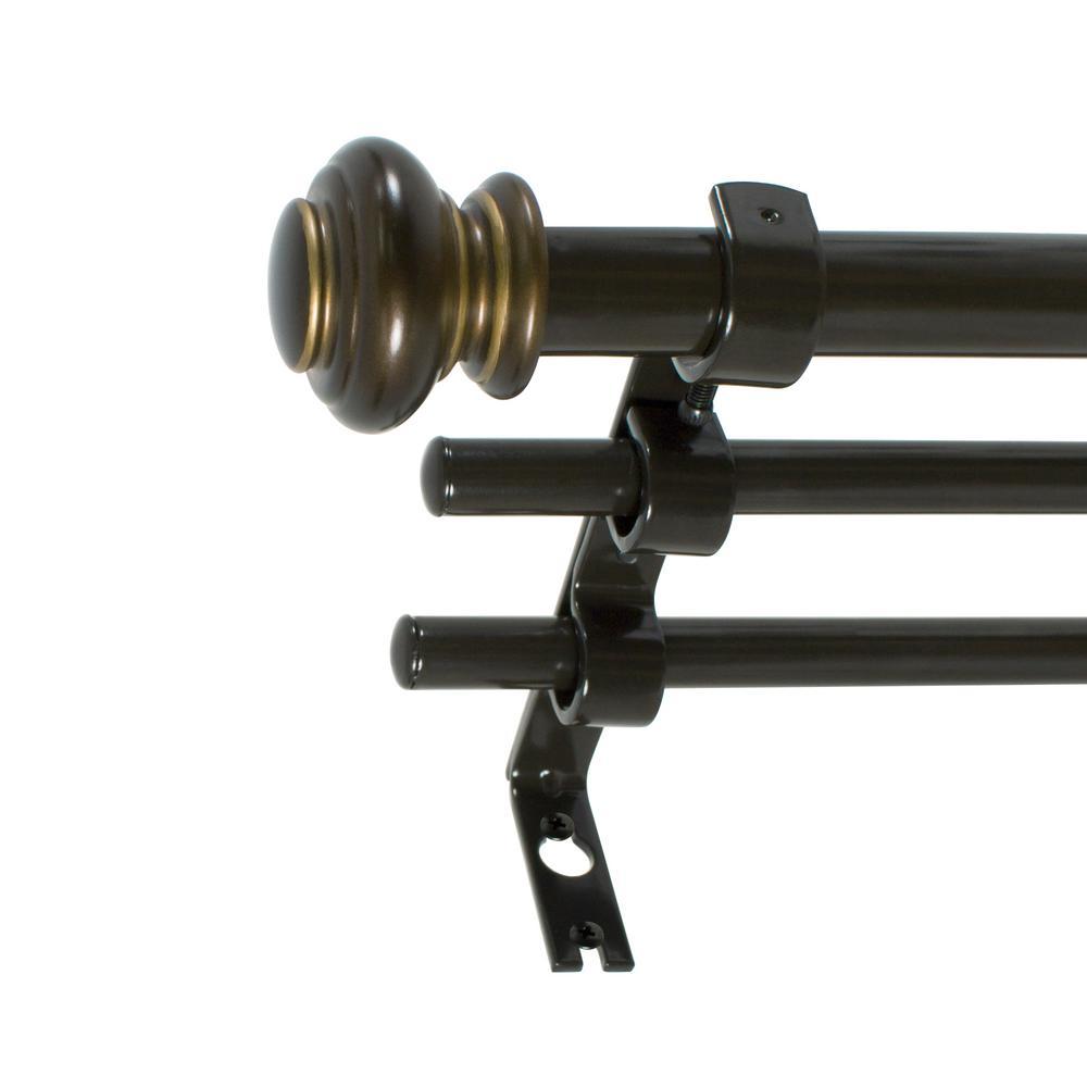 3/4 in. Urn Triple Drapery Double Rod Set, 42 in. - 120 in. in Oil Rubbed Bronze