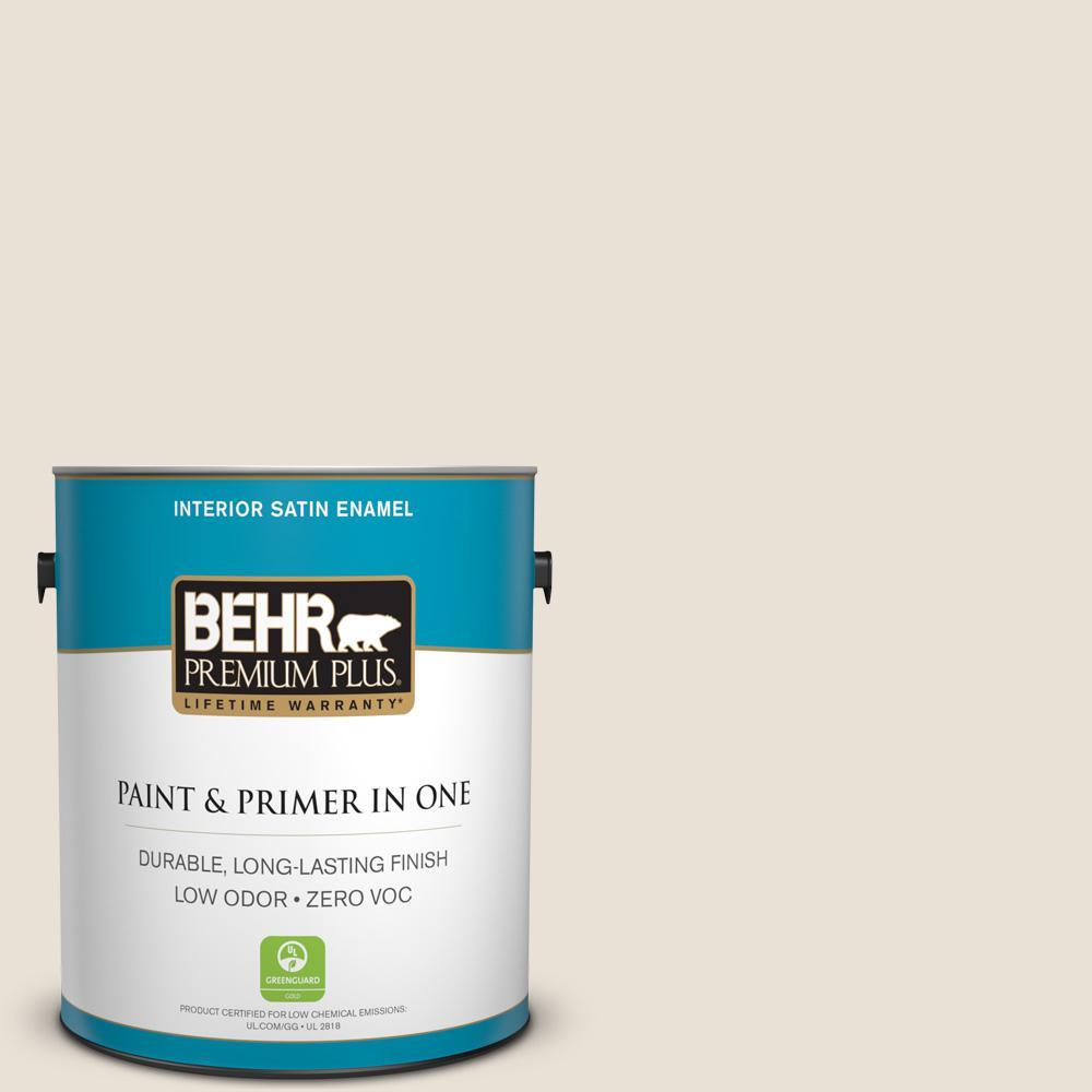 BEHR Premium Plus 1 gal. #W-F-410 Ostrich Satin Enamel Zero VOC Interior Paint and Primer in One