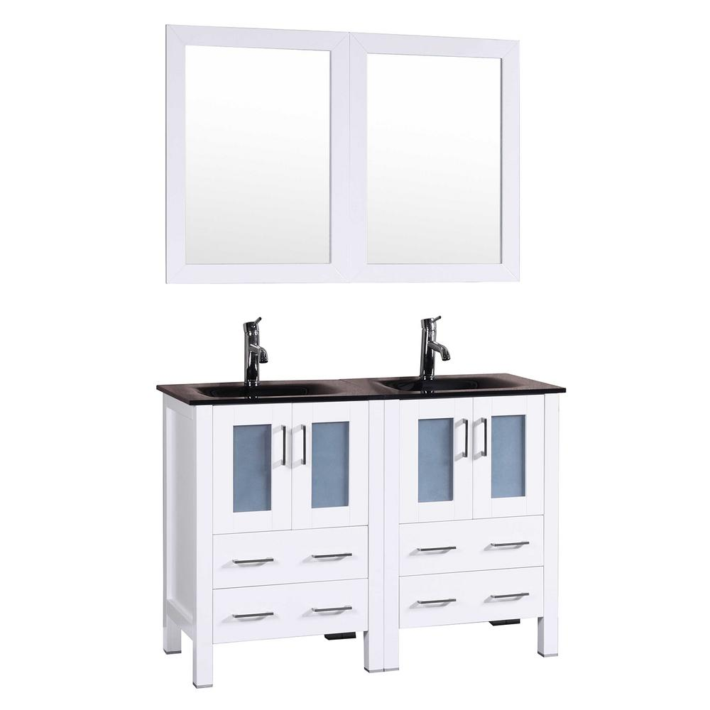 Bosconi 48 in. W Double Bath Vanity in White with Tempered Glass Vanity Top with Black Basin and Mirror