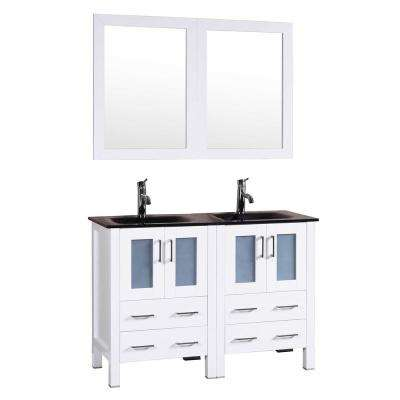 48 in. W Double Bath Vanity in White with Tempered Glass Vanity Top with Black Basin and Mirror