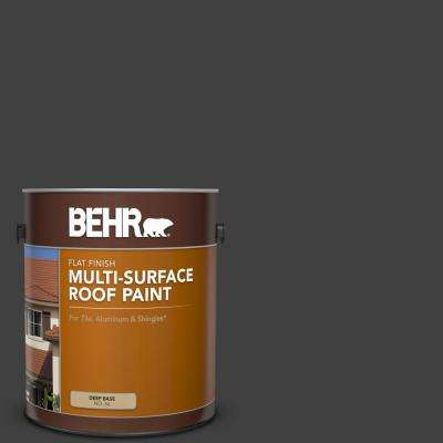 1 gal. #1350 Ultra Pure Black Flat Multi-Surface Exterior Roof Paint