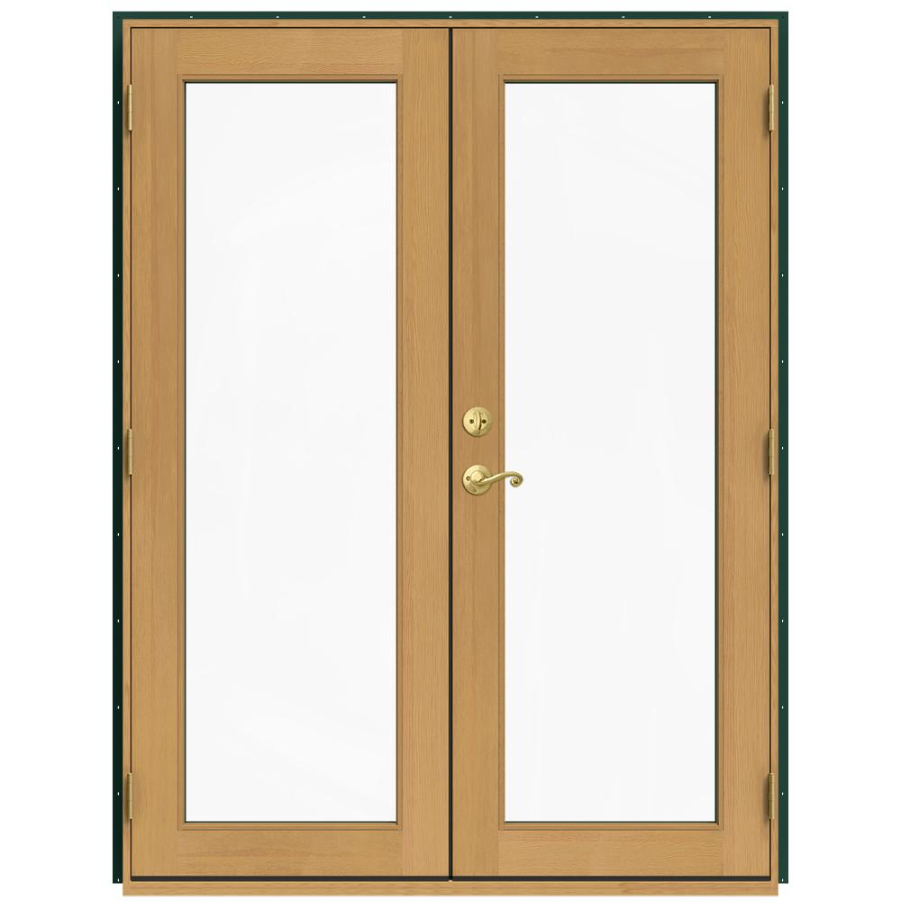 Jeld wen 60 in x 80 in w 2500 green clad wood left hand for Green french doors