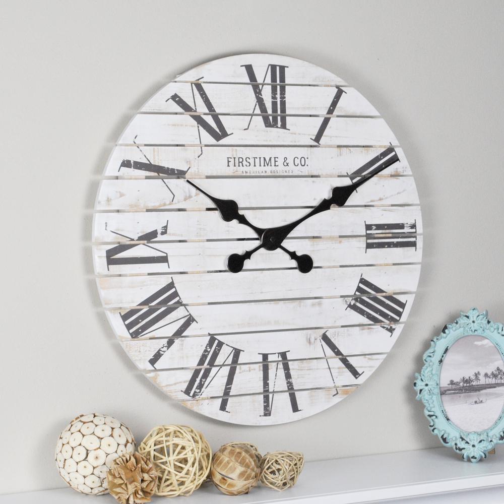 18 in. Shiplap White Wall Clock