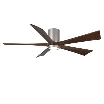 Irene 60 in. LED Indoor/Outdoor Damp Brushed Nickel Ceiling Fan with Light with Remote Control and Wall Control