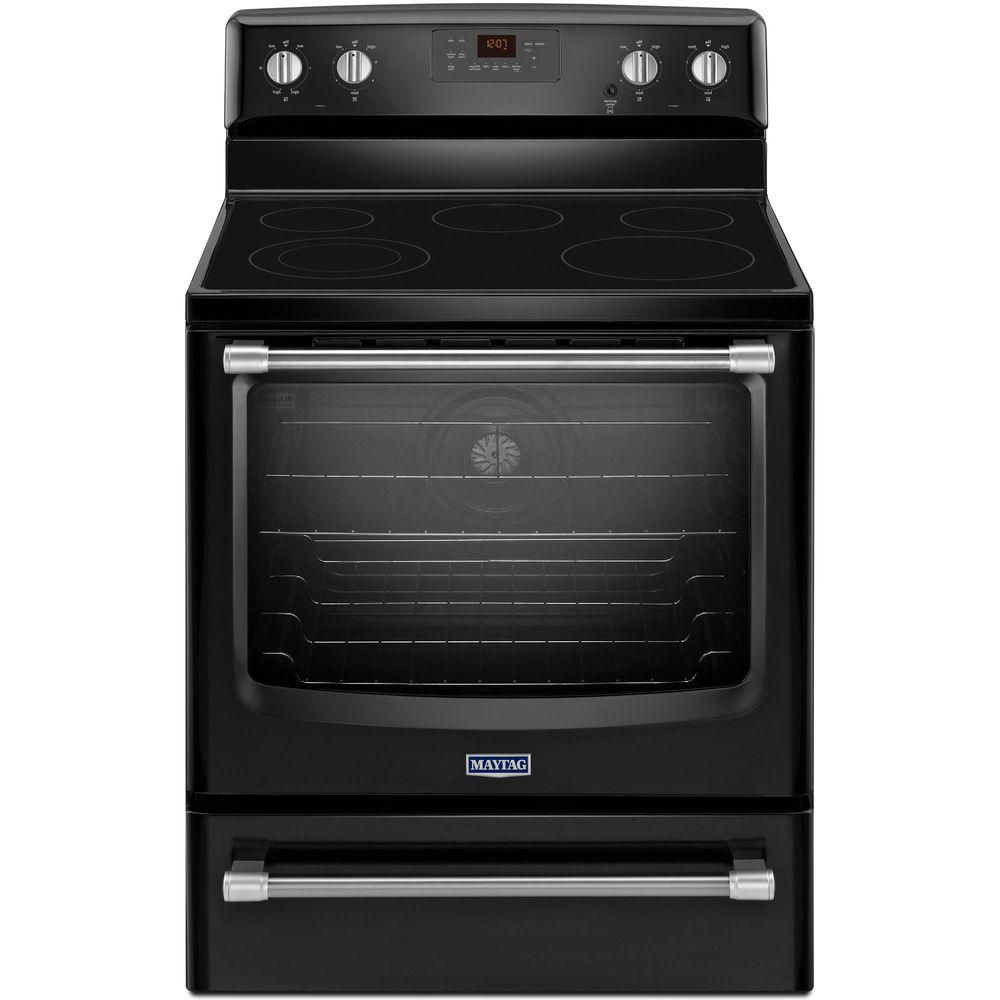 Maytag Maytag AquaLift 6.2 cu. ft. Electric Range with Self-Cleaning Convection Oven in Black with Stainless Steel Handle, Black with Stainless Steel Handles