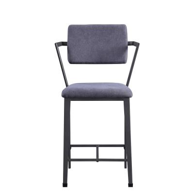 Fabric and Gunmetal Cargo Counter Height Chair (Set of 2)