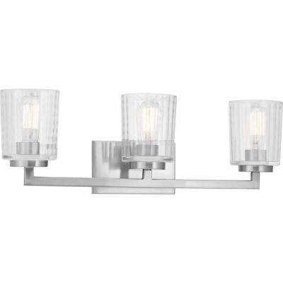 Westlyn 3-Light Brushed Nickel Vanity Light with Clear Optic Glass Shades