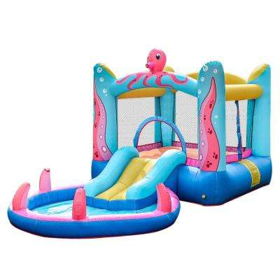 Inflatable Bounce House with Built-In Water Sprayer, Ball Pit and Pool