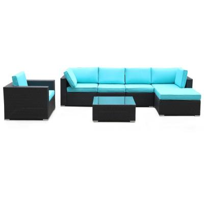 Black 7-Piece Metal Patio Conversation Sectional Seating Set with Blue Cushions