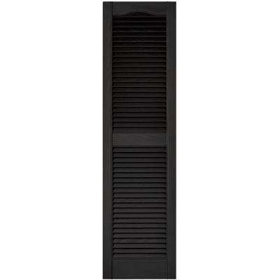 15 in. x 55 in. Louvered Vinyl Exterior Shutters Pair in #002 Black