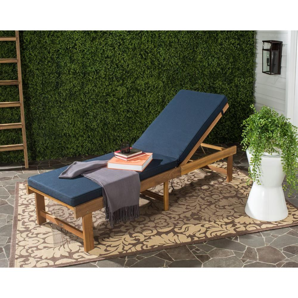 Safavieh Inglewood Teak Brown/Navy 1 Piece All Weather Wicker Outdoor Chaise  Lounge Chair