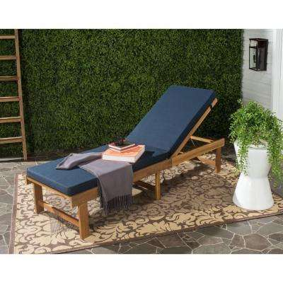 Inglewood Teak Brown/Navy 1-Piece All Weather Wicker Outdoor Chaise Lounge Chair with Navy Cushion