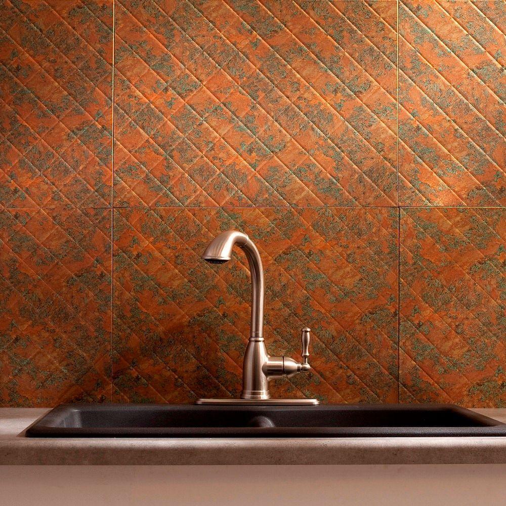 Fasade 24 in. x 18 in. Quilted PVC Decorative Backsplash Panel in Copper Fantasy