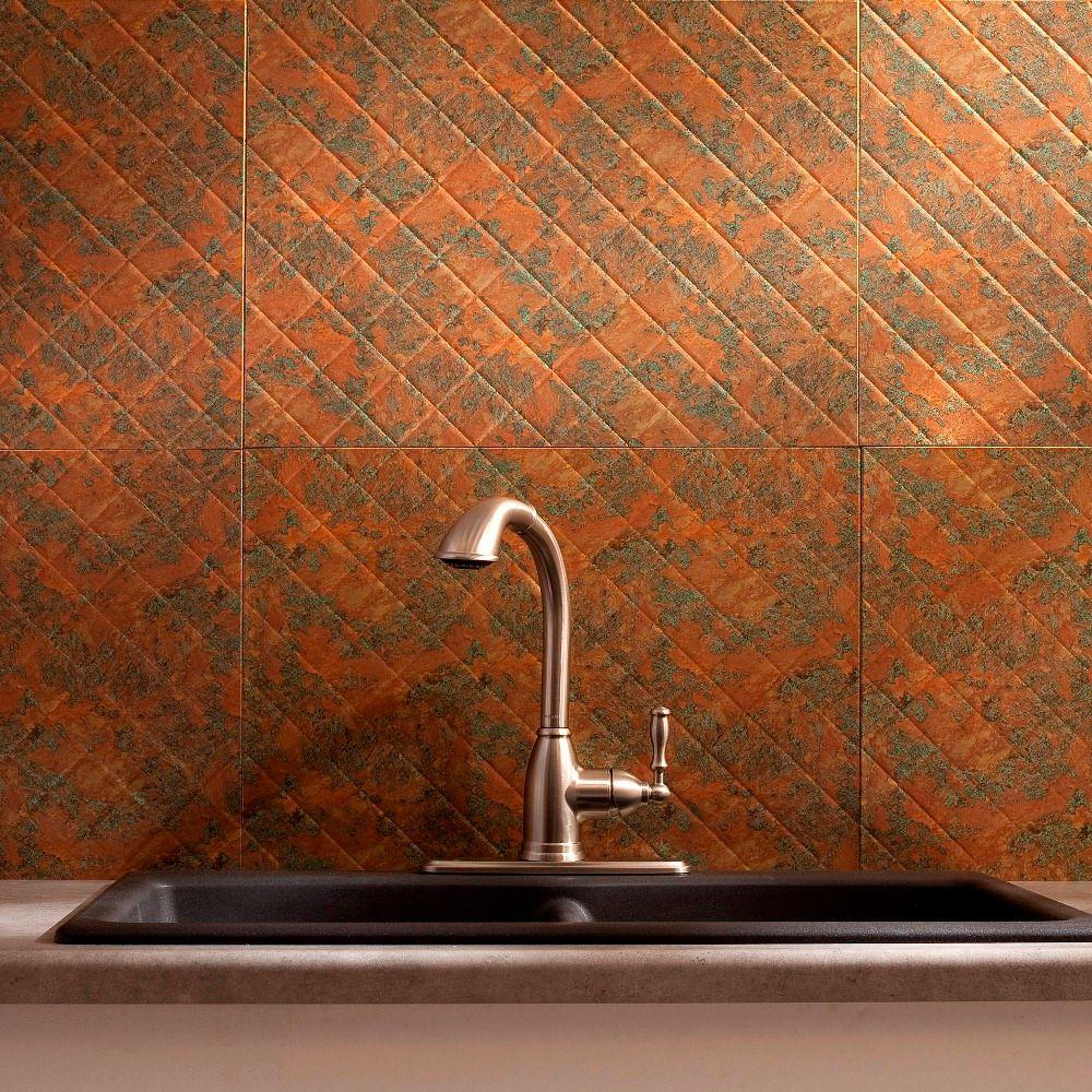 Fasade 24 in. x 18 in. Quilted PVC Decorative Backsplash Panel in Copper Fantasy