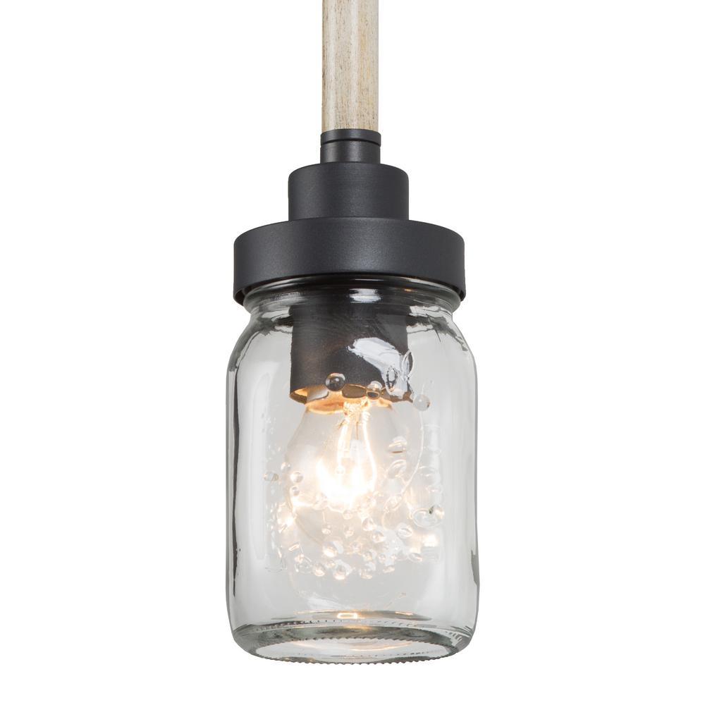 12 in. 1-Light Farmhouse Island Black Pendant with Mason Jar