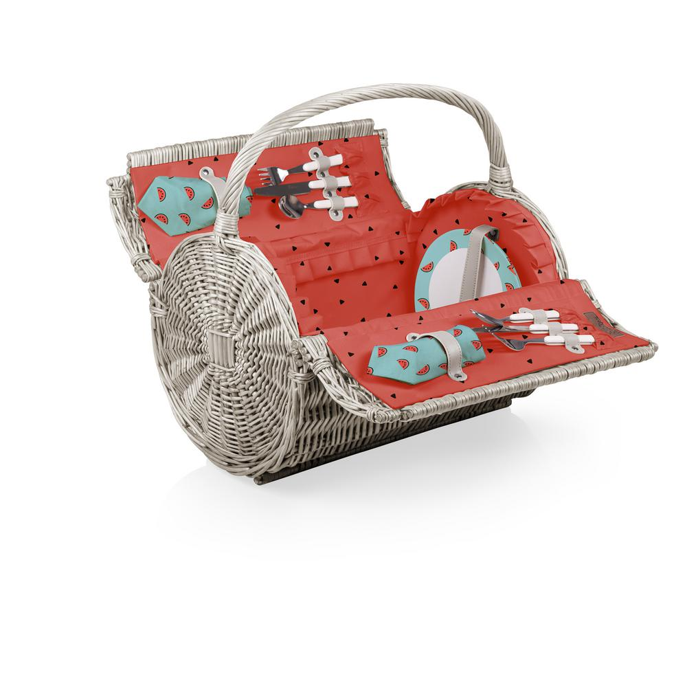 Watermelon Collection Red Barrel Willow Wood Picnic Basket