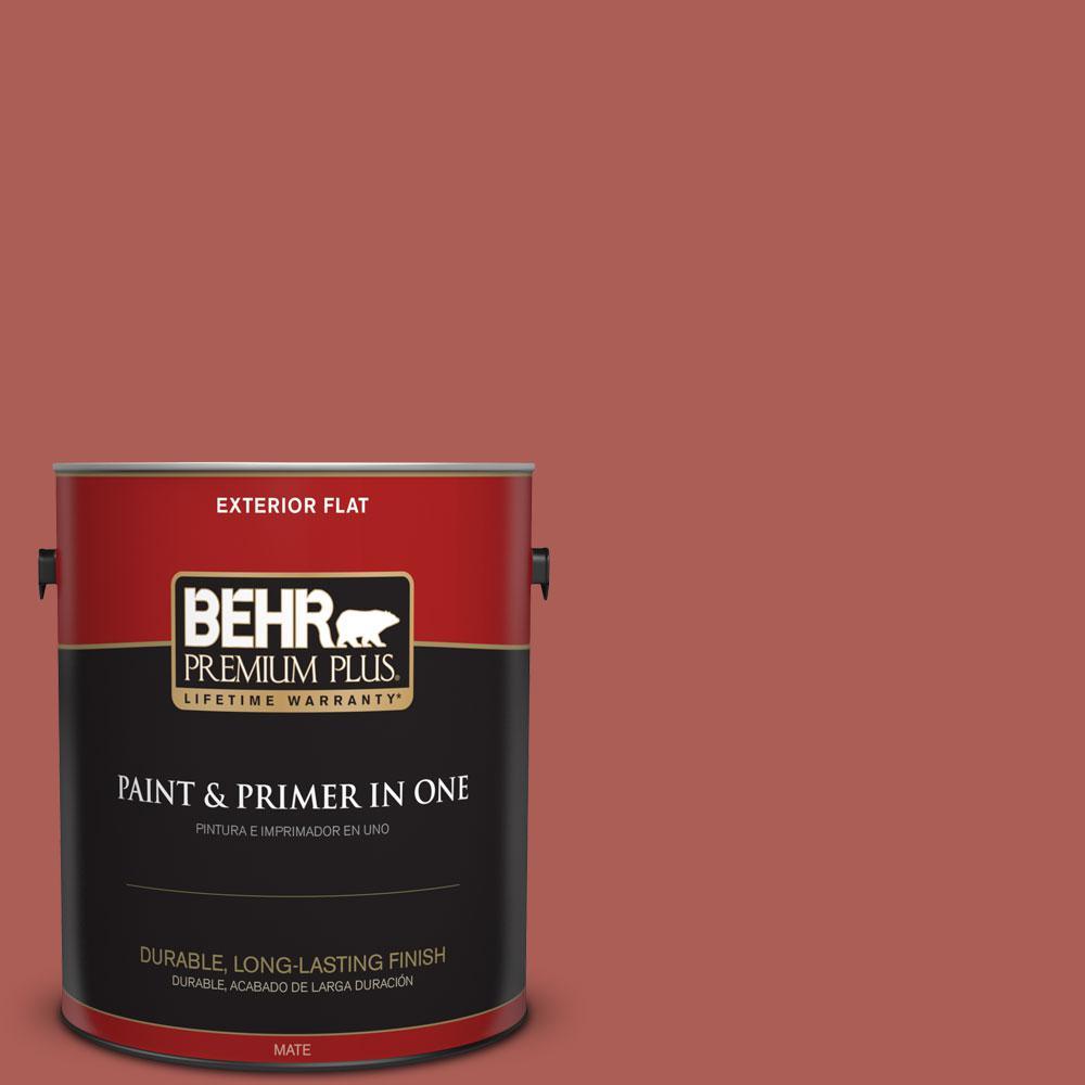 BEHR Premium Plus 1-gal. #T12-1 Prairie Poppy Flat Exterior Paint