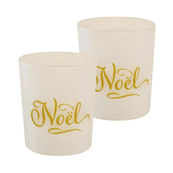 Battery Operated Noel Glass LED Candles (Set of 2)