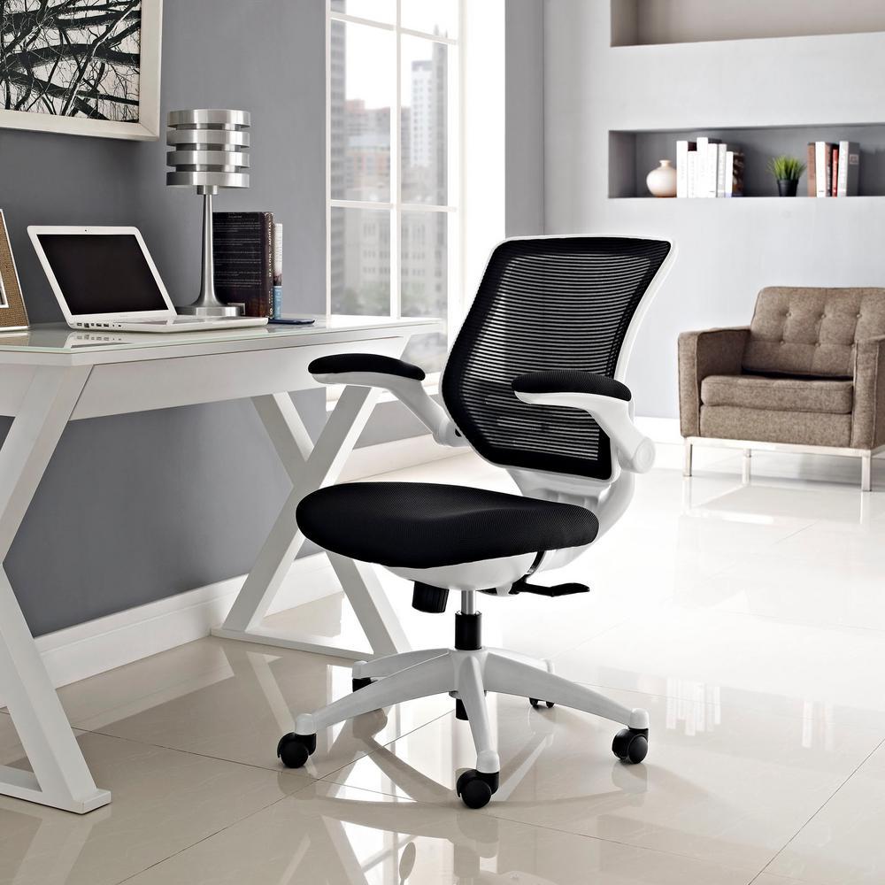 Edge White Base Office Chair in Black
