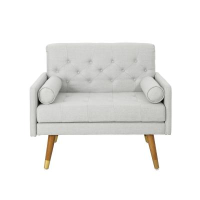 Eugene Mid-Century Modern Tufted Light Gray Fabric Club Chair