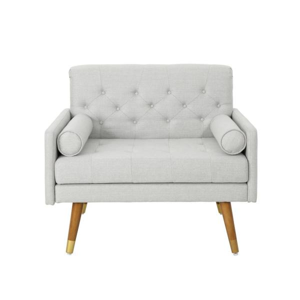 Noble House Eugene Mid-Century Modern Tufted Light Gray Fabric Club Chair