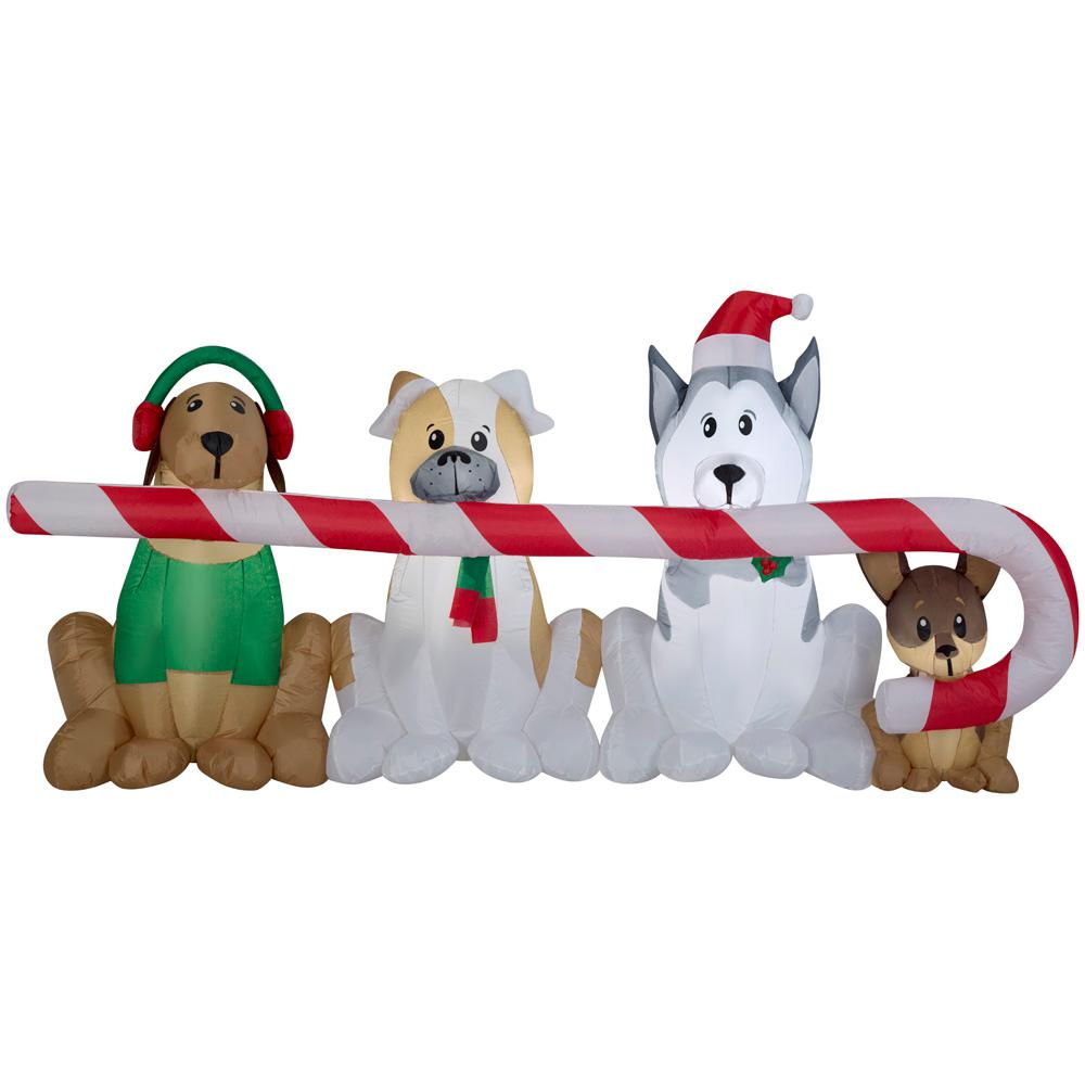 8 ft. W Pre-lit Inflatable Puppies Sharing a Big Candy Cane