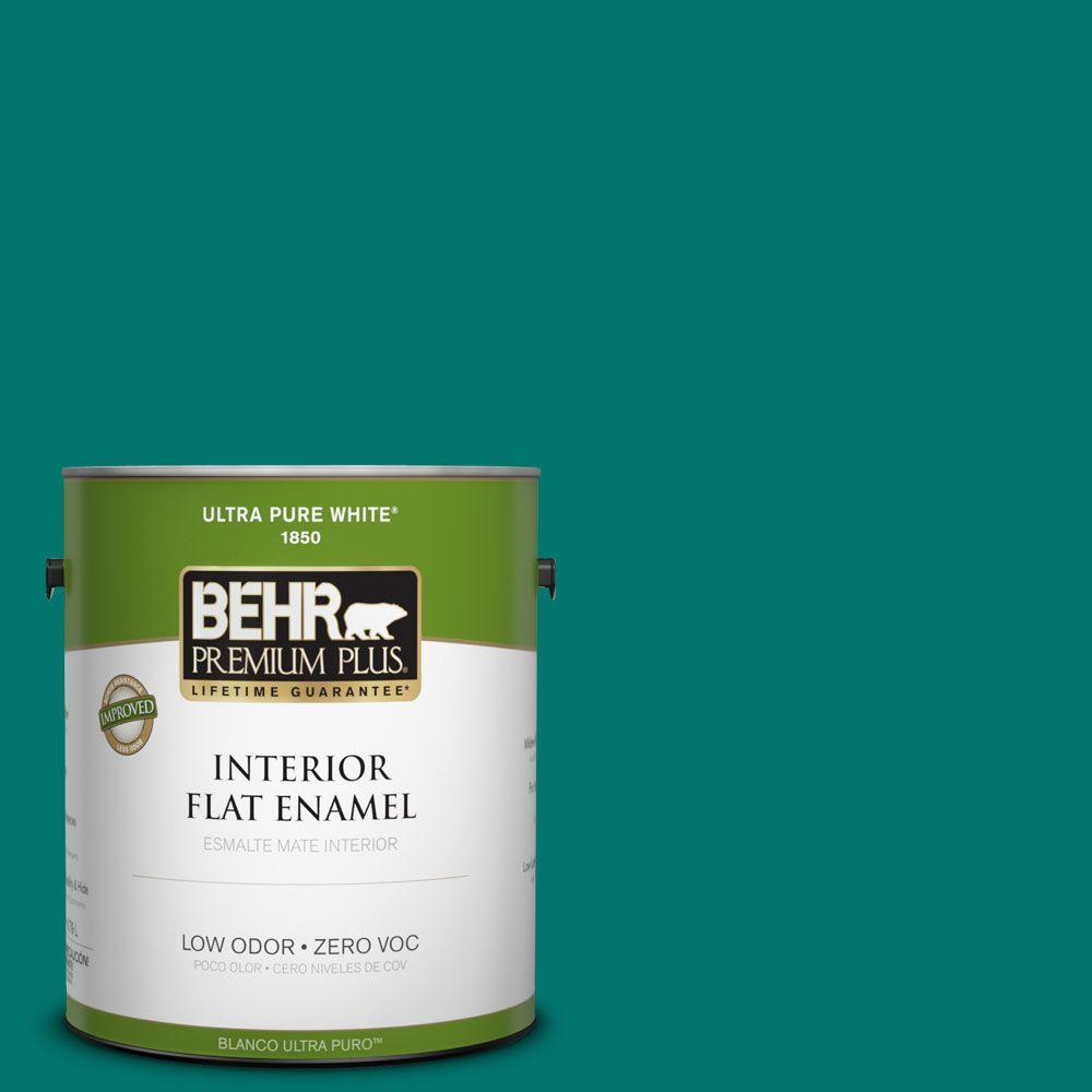 BEHR Premium Plus 1-gal. #490B-7 Mermaid Harbor Zero VOC Flat Enamel Interior Paint-DISCONTINUED