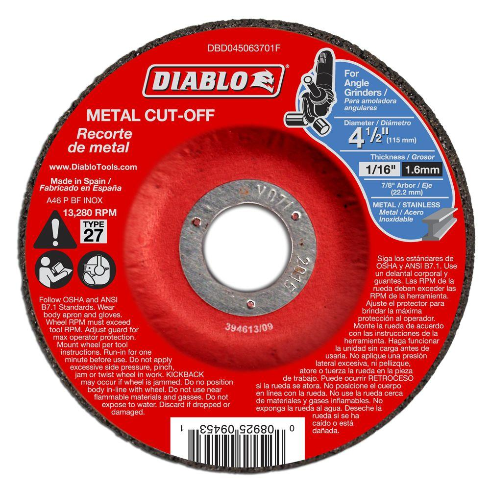 DIABLO 4-1/2 in. x 1/16 in. x 7/8 in. Metal Cut-Off Disc with Type 27 Depressed Center (10-Pack)