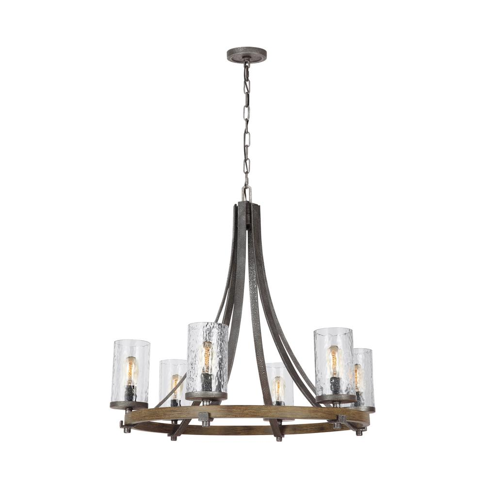 Feiss angelo 30 in w 6 light distressed weathered oak chandelier w 6 light distressed weathered oak chandelier with clear aloadofball Images